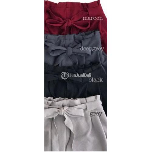 Celana Panjang Cewek Cullot Pants Bahan Kaos Wedges Banayk Warna - Solo