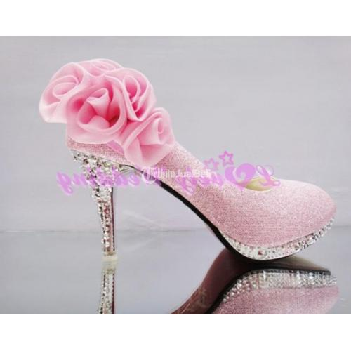 Sepatu Hak Tinggi Terbaru Wedding Shoes Pink Murah Import - Jakarta