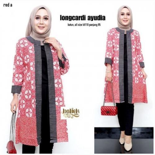 Baju Cardigan Batik Wanita Murah Long Cardi Ayudia Bahan Katun All Size - Surakarta