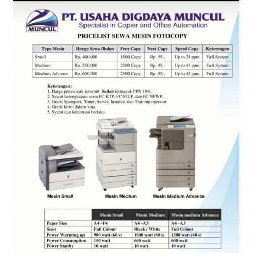 Sewa/Rental Mesin Fotocopy  Murah - Jogja