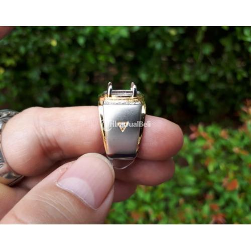 Ring Perak Hongkong 925 Mewah Kombinasi Silver Gold Zircon PRK043 - Jakarta Pusat
