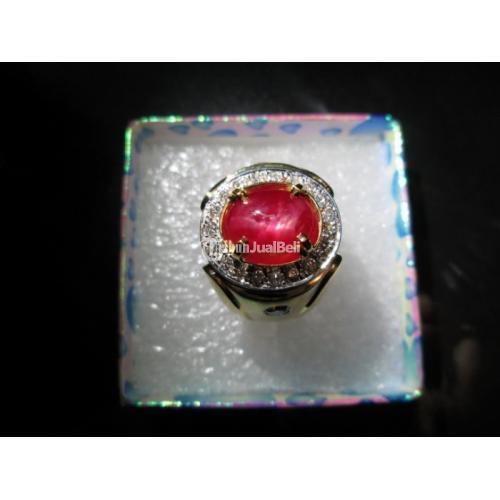 Batu Natural Ruby Birma Kwalitas Super Ikatan Emas Berlian Sertifikat Big Lab - Jakarta