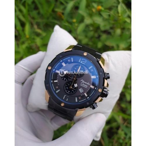 Jam Tangan Alexandre Christie 6410MC Black Rose Gold Like New Fulset Nego - Klaten