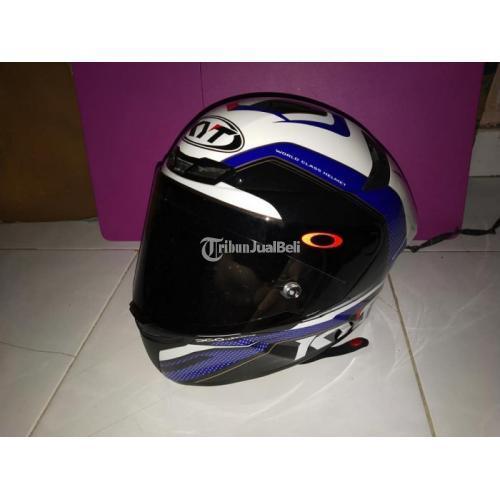 Helm KYT TT Course Grand Prix Red Blue Bekas Size L Full Face Murah - Jakarta