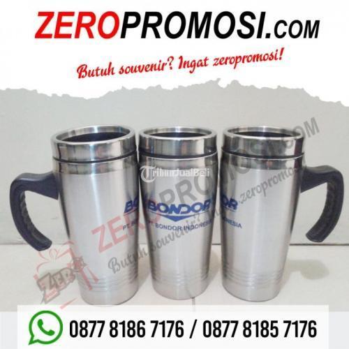 Souvenir Mug Stainless 3 Garis 450ml Harga Murah - Tangerang