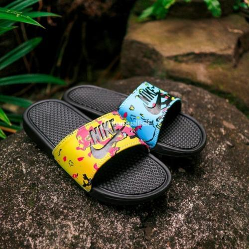 Nike Benassi Slides Ice Cream Yellow Blue Size Lengkap 40-44 - Solo
