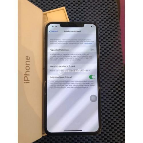 HP iPhone XS Max 256GB Gold Fullset Mulus iCloud Kosong Baterai 91 % - Semarang