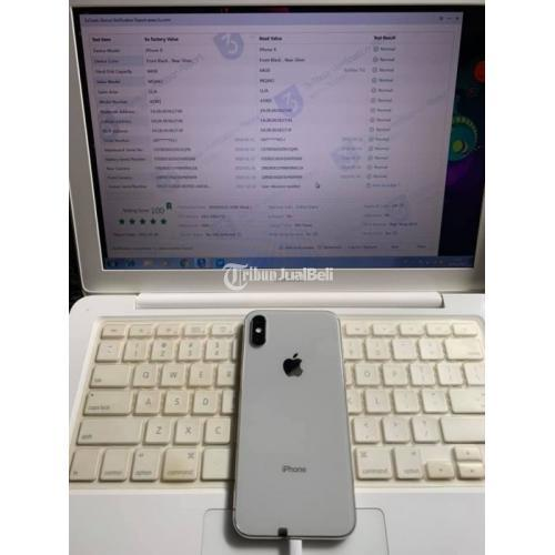 HP iPhone X 64gb Silver Fullset Mulus No Minus Bh 92% All operator - Surabaya