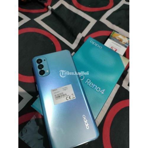 HP Oppo Reno 4 Bekas Garansi Fullset Mulus No Minus Blue - Surabaya