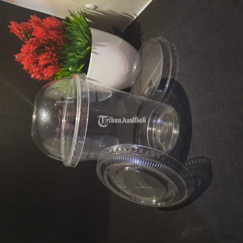 Sablon Cup Plastik Food Grade Jenis PET Datar/Oval 14oz Harga Murah - Jakarta Pusat