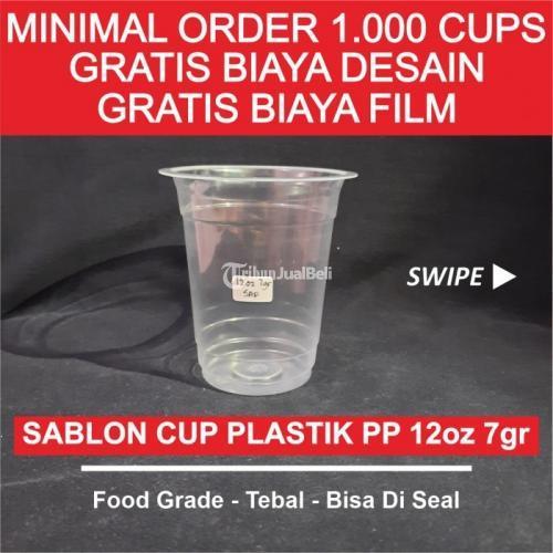 Sablon Cup Plastik Datar 12oz 7gr Merk SAP/POLY Gratis Biaya Desain - Jakarta Pusat
