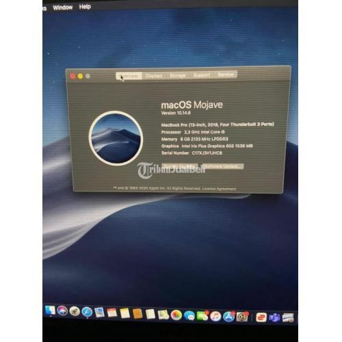 Laptop Macbook Pro 2018 Touchbar 256GB Normal Ex Garansi Resmi Fullset - Surabaya