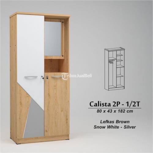 Lemari Pakaian Minimalis Calista 2 P Ukuran 80x43x182 Cm Harga Murah -Malang