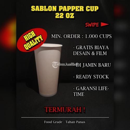 Sablon Paper Cup 22oz Bahan Food Grade Cup Kertas Free Biaya Desain - Jakarta Pusat