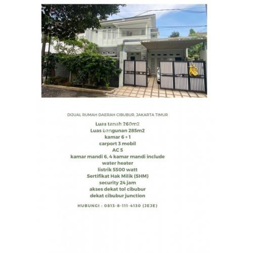 Dijual Rumah LT/LB 260M2/285M2 Daerah Cibubur Dekat Tol - Jakarta Timur