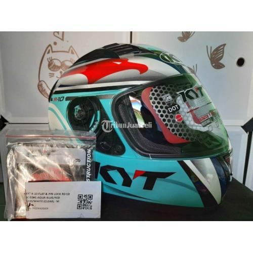 Helm Full Face KYT R10 Aqua Blue Marine Bekas Like New Harga Nego - Jogja
