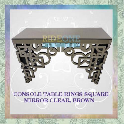 Meja Konsol Kaca Rings Square Mirror Clear Brown Desan Exlusive - Bantul