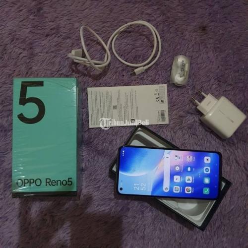 HP Oppo Reno 5 Ram 8/128Gb Blue Fullset Bekas Mulus No Minus - Denpasar