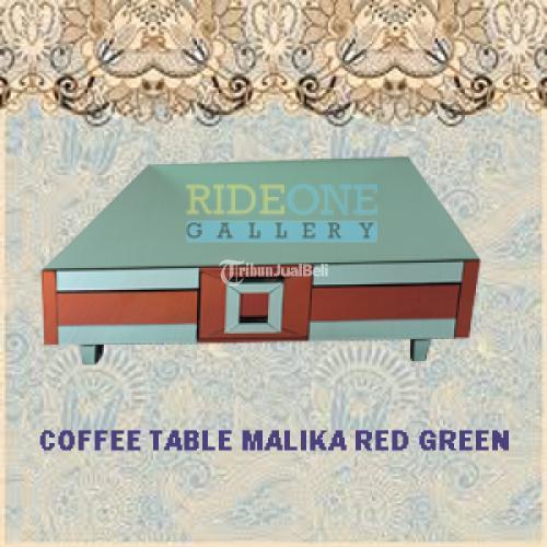 Meja Kopi Kaca Malika Mirror Red Green Size 120 x 80 x 40 cm - Bantul