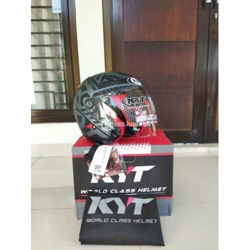 Helm KYT DJ Maru Size L Baru Fullset Warna Matt All Grey Black - Bandung