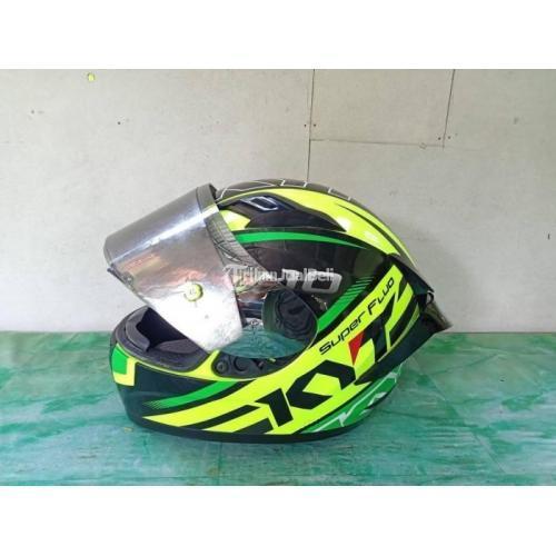 Helm Full Face KYT R10 Hijau Fluo Size M Bekas Mulus Flatvisor Top+Tearoff - Jogja
