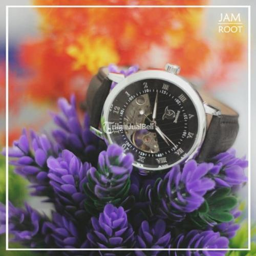 Jam Tangan Pria Mechanical Warna Silver Black Bekas Fullset Normal - Jombang