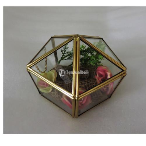 Terrarium Tanpa Pentolan Kaca Bening Kuningan Emas - Jogja