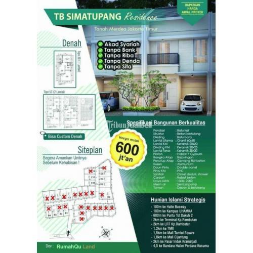 Dijual Rumah Syariah 3KT 2KM Hunian Islami Lokasi Strategis - Jakarta Timur