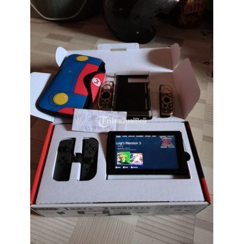 Konsol Game Nintendo Switch V2 Grey CFW Bekas Fullset Mulus Normal - Surabaya
