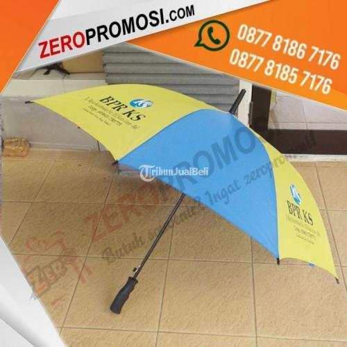 Produksi Payung Standart Gagang Kayu Sablon 4 Sisi - Tangerang