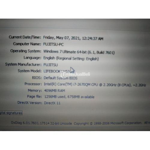 Laptop Fujitsu Lifebook LH531 Core i7-2670QM 2,2 Ghz Bekas Normal - Sukoharjo