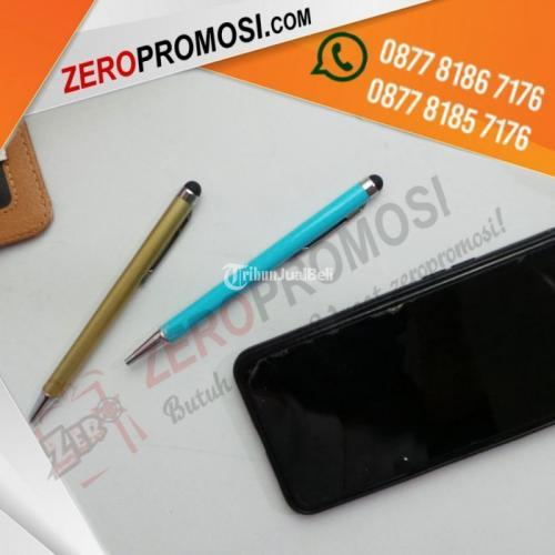 Souvenir Pulpen Besi Warna Cetak Logo Dengan Stylus Touch HP - Bogor