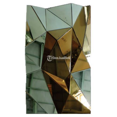 Wall Dekoration MIRROR DIAMOND ABSTRAK GOLD GREEN - Bantul