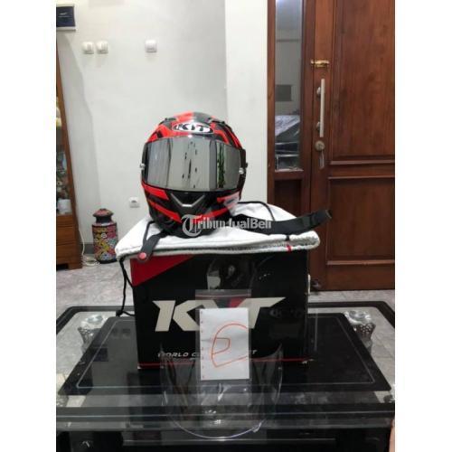 Helm KYT Falcon Faster Red Size M Bekas Mulus Visor Flat Iiridium Silver Ori - Solo